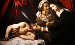 The painting Judith Beheading Holofernes at its presentation in Paris. It may have been painted by Caravaggio (1571-1610) and could be worth €120m.