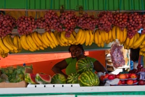 A fresh fruit stand in Scarborough on Tobago.