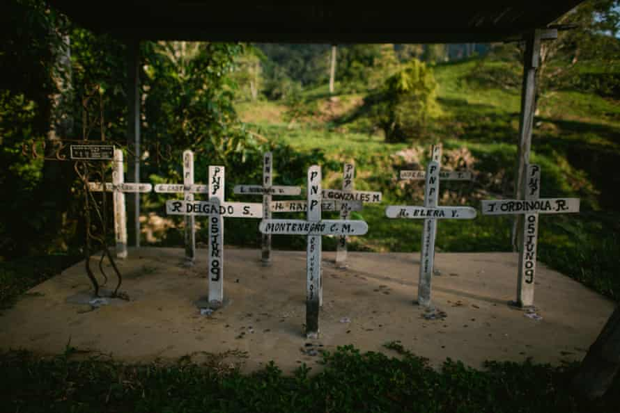 Crosses at the Pumping Station 6, on the North Peruvian Pipeline, to remember policemen killed during the events of 2009 in Bagua