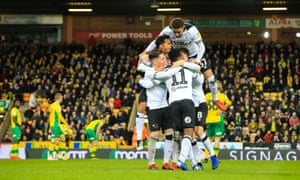 Derby celebrate Florian Jozefzoon's late equaliser at Norwich and the day was going to get even better for the visitors