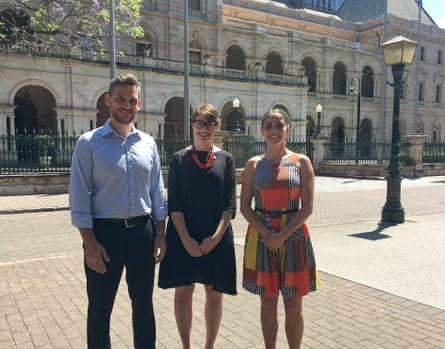 Greens candidates Michael Berkman, Amy MacMahon and Kirsten Lovejoy outside Queensland's Parliament House