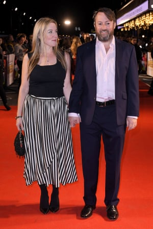 Mitchell with his wife, Victoria, at the premiere of Greed in London last month.