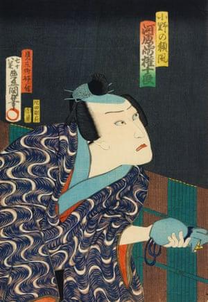 The actor Ichikawa Danjuro IX as Ono no Yorikaze, 1863