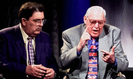 John Hume, left, of the SDLP and the Reverend Ian Paisley of the DUP in May 1998.
