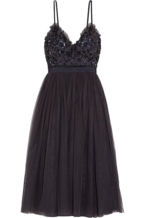 Open-back embellished crepe and tulle midi dress, £145, Needle & Thread