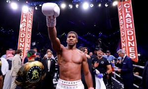 Anthony Joshua celebrates victory over Andy Ruiz Jr.