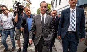Nigel Farage on a walk about in Merthyr Tydfil.