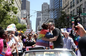 Harris and Emhoff at the San Francisco Pride Parade on 30 June, 2019.