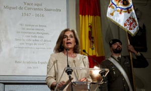 Ana Botella speaks at the reburial of Miguel de Cervantes. The plaque reads: 'Time is brief, anxieties grow, hopes diminish and, with this, I carry out my life with my desire to live.'