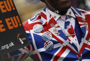 A Brexit supporter wearing a union flag suit