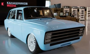 A prototype electric car, the CV-1 produced by Russian arms maker Kalashnikov
