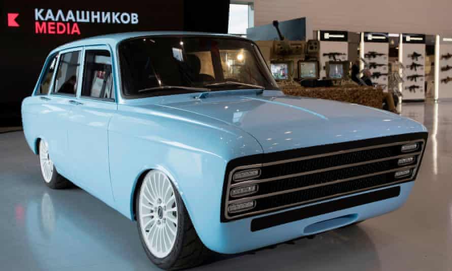 A prototype electric car, the CV-1 produced by Russian arms maker Kalashnikov