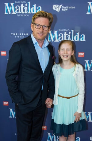 Actor David Wenham and his daughter at the Sydney premiere of Matilda the Musical.