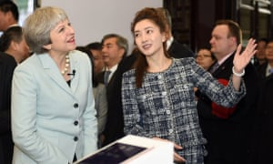 Theresa May with Chinese actress Maggie Jiang.