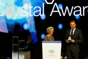 Actor Leonardo DiCaprio receives a Crystal Award for his contribution to improve the state of the world.