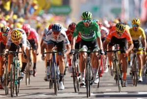 Sagan wins the sprint for the stage.