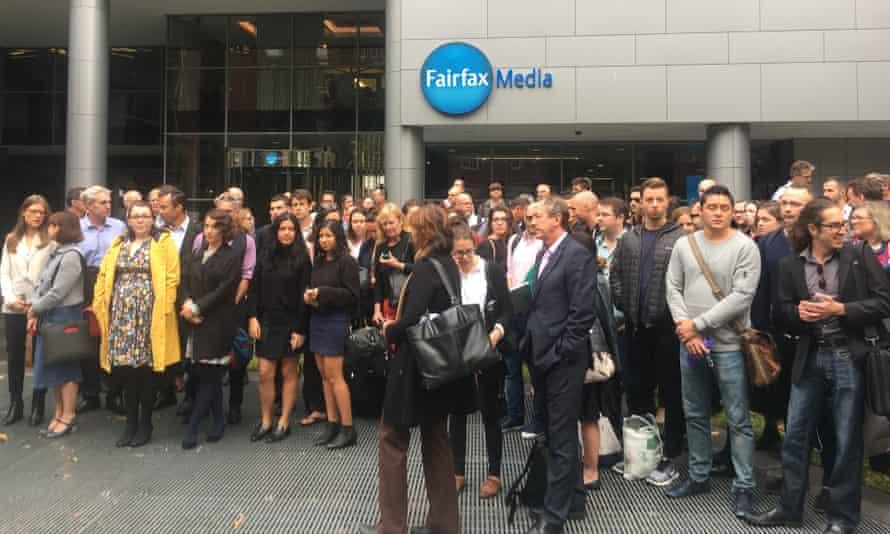 Fairfax Media staff in Sydney walk off the job on Wednesday afternoon.