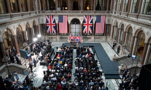 Donald Trump and Theresa May within the Foreign and Commonwealth Office in London. Cutbacks could reduce Britain's influence internationally.