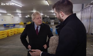Boris Johnson during an interview with ITV, in which he refused to look at a photograph of a sick boy on a hospital floor.