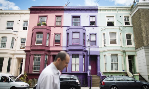The colourful facades of houses in Notting Hill, west london