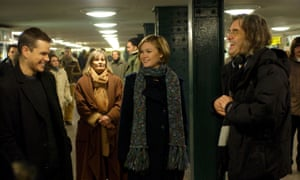 Greengrass, right, directing Matt Damon and Julia Stiles in The Bourne Supremacy in 2004