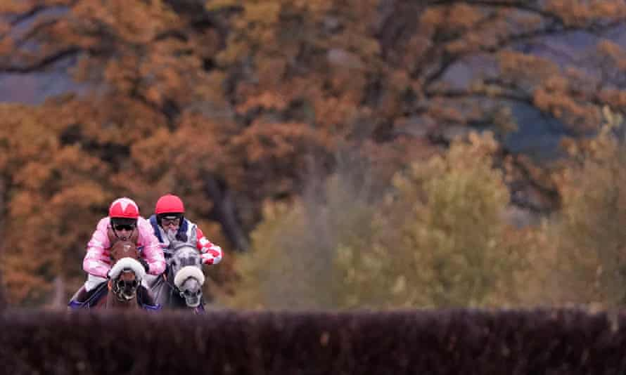 Brewin'upastorm, pink colours, on his way to victory at Taunton last season.