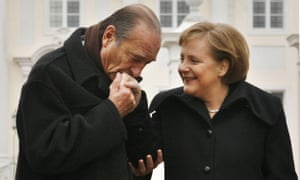 Chirac with Merkel after talks in Meseberg, February 2007.