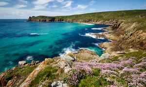 Sea thrift growing on the clifftop at Nanjizal, Cornwall. England's seaside helped rank the country second in Lonely Planet's best places to visit in 2020.