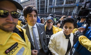 Jian Ghomeshi arrives at court with his lawyer in Toronto on 11 May 2016. He was acquitted of criminal charges.
