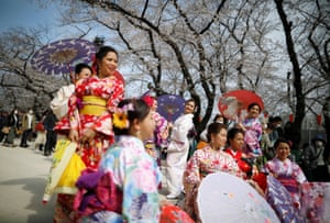 Visitors from abroad wearing kimonos look at blooming cherry blossoms in Ueno park, Tokyo, Japan