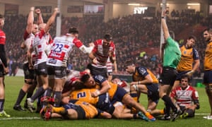 Gloucester celebrate Ben Morgan's try during the win against Montpellier to keep their Champions Cup hopes alive