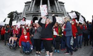 Teachers rally in Denver, Colorado, amid strikes in April. A supreme court decision puts unions' funding at risk.