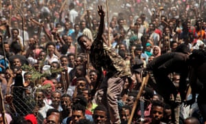 Supporters of Bekele Gerba, secretary general of the Oromo Federalist Congress, celebrate his release from prison, in Adama, Ethiopia on 14 February 2018.