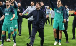 Tottenham manager Mauricio Pochettino celebrates after the Champions League semi-final victory against Ajax in Amsterdam.
