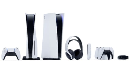 The Sony PlayStation 5 standard and digital edition consoles, DualSense controllers, media remote, Pulse 3D wireless headset, DualSense charging station and HD camera.