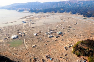 An aerial view of the devastated town of Rikuzentakata, Iwate Prefecture, Japan. The total death toll from the Japanese earthquake and subsequent tsunami is expected to reach over 10,000 people.