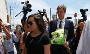 Beto O'Rourke arrives at the funeral services for Ivan Manzano in Ciudad Juárez, on 8 August.