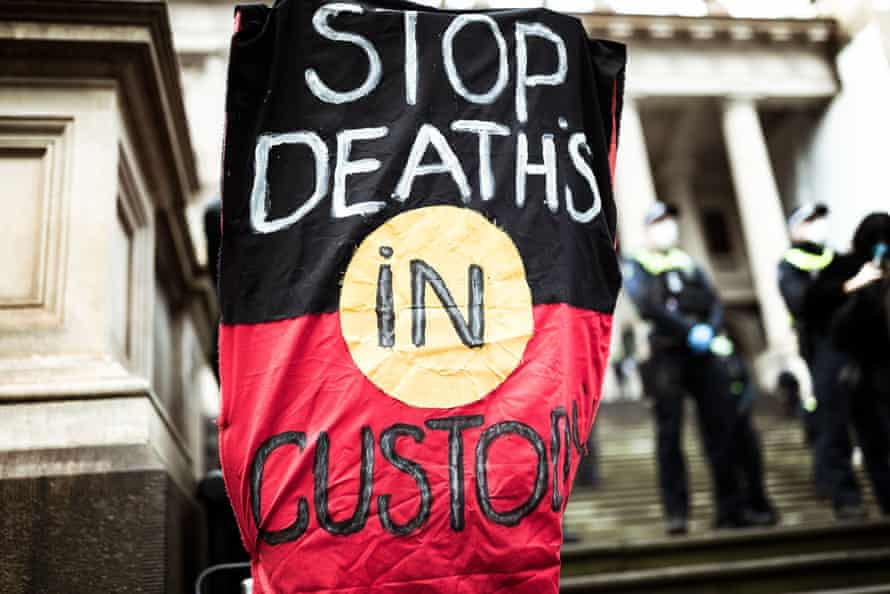 A banner at a Melbourne rally