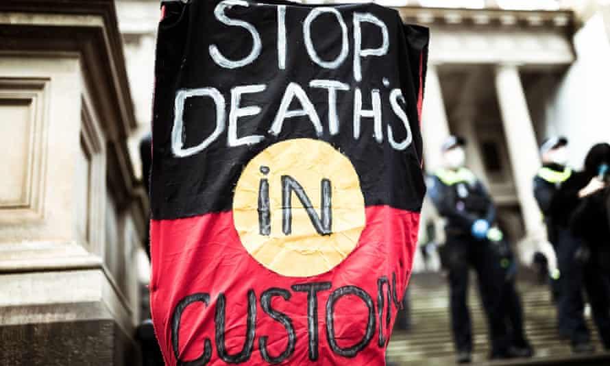 'Stop deaths in custody' banner at Australian rally