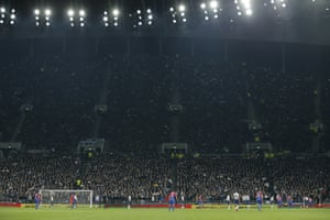 Fans in the South Stand watch a rare Palace attack during the first half, which was mostly one-way traffic heading towards the Palace goal.