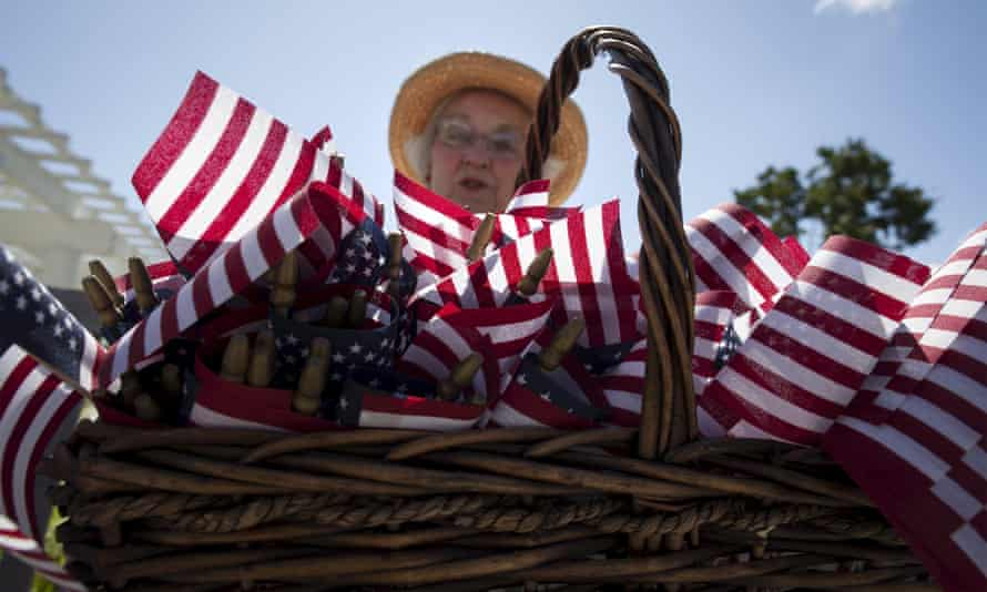 lady with american flags