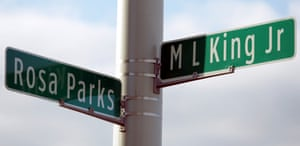 Street signs mark the corner of Rosa Parks Blvd and Martin Luther King Jr Blvd in Detroit, one of more than 900 streets in the US named after him