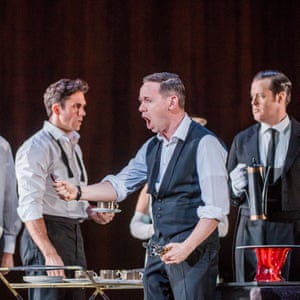 Lamenting incorrect cutlery - Iestyn Davies as Francisco de Avila in Adès's The Exterminating Angel.