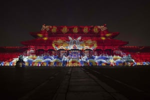 A light show inside the Forbidden City is seen during a cultural event celebrating the Lantern Festival, the end to the Lunar New Year festivities, in Beijing