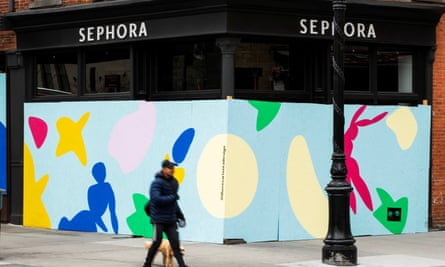 A Sephora store covered up with plywood during the outbreak of the coronavirus in New York City.