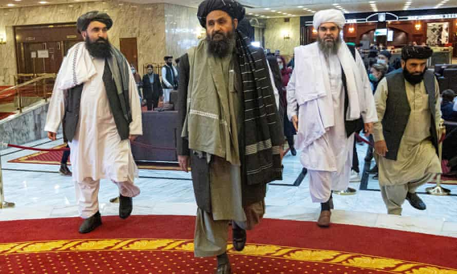 Mullah Abdul Ghani Baradar, centre, the Taliban's deputy leader, at a peace conference in Moscow in March 2021