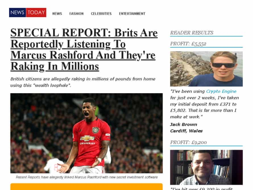 Screengrab of a web page featuring a news story on Marcus Rashford