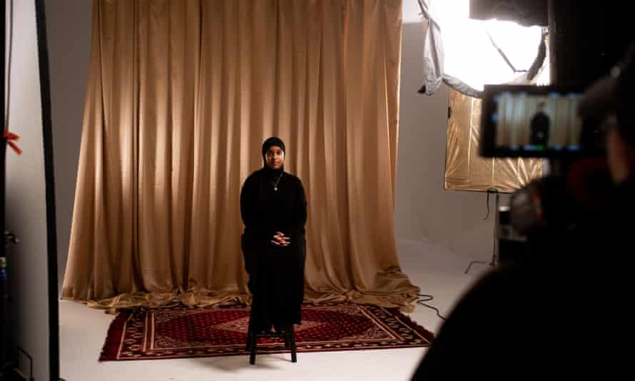 Miske Ali on the set of Somalinimo