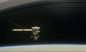 A still from the short film Cassini?s Grand Finale, with the spacecraft diving between Saturn and the planet?s innermost ring