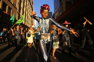 Sydney, Australia Protesters participate in a Halloween-themed Extinction Rebellion rally